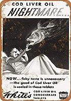SUDISSKM ブリキ看板1933ホワイトのタラ肝油タブレットグッズウォールアート