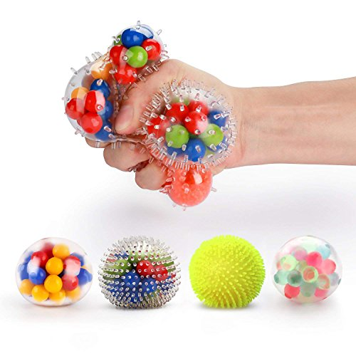 Fansteck Stress Balls for Kids, [4 Pack] Stress Relief Ball for Adults, Squeeze Ball/Sensory Ball, Rainbow LED Stress Ball, Ideal for Autism, Anxiety & More (4 Different Balls)