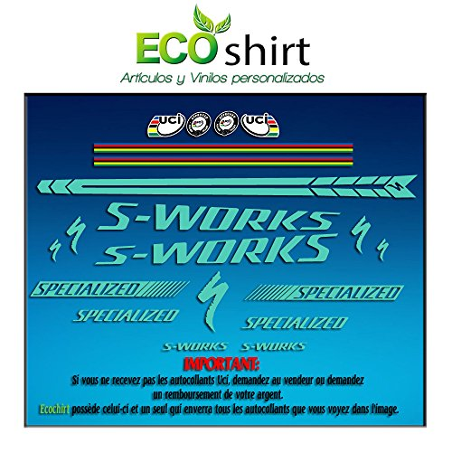 Ecoshirt AN-SLCZ-CJG7 Pegatinas Stickers Cuadro Frame S-Works Sworks Am25 Aufkleber Decals Adesivi Bike BTT MTB Cycle, Verde