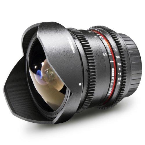Walimex Pro 8 mm f/3.8 - Objetivo para Nikon (Distancia Focal Fija 8mm, Apertura f/3.8-22) Negro