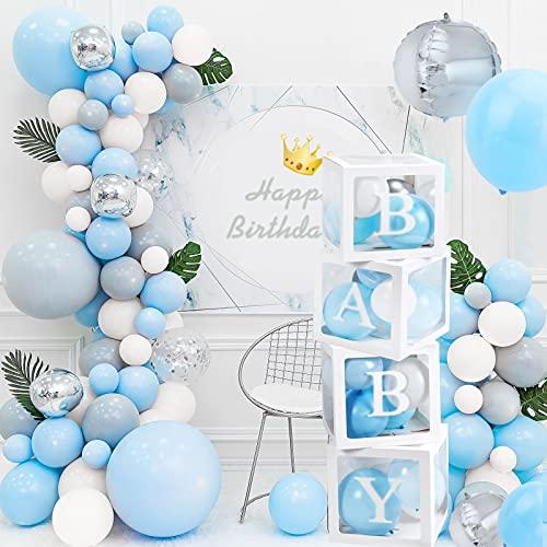 HOWAF Caja de decoración para baby shower para niños y niñas,4 cajas cuadradas blancas transparentes para baby shower con 30 letras,Baby+A-Z para niños,niñas,baby shower,género revelación decoraciones
