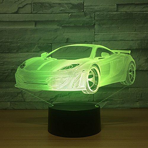 Cool Car Acrílico Lámpara de holograma 3D,7 Cambio de color Luz nocturna Interruptor táctil para bebés Luces de colores LED Lámpara de escritorio USB Lámpara de atmósfera