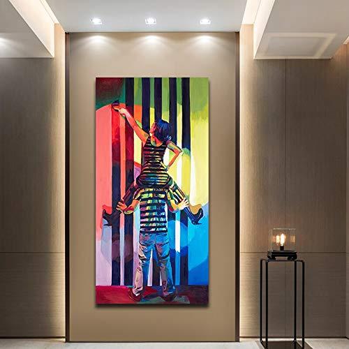 Geiqianjiumai Paar Graffiti Kunst Bild Moderne gedruckte Leinwand Dekoration Poster und Wohnzimmer drucken rahmenlose Malerei 50X100cm
