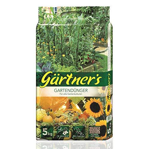 Gärtner's Gartendünger 5 kg I NPK Dünger für Obst, Gemüse, Stauden und Blumen I Organischer Dünger zur Bodenverbesserung I Volldünger NPK Dünger 6+3+8 I Für bis zu 40 m2