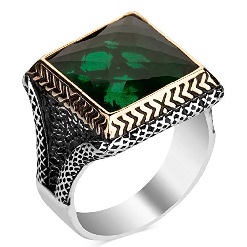 Silver Faceted Square Green Zircon Gemstone Ring Vintage Turkish Jewelery Solid 925 Sterling Silver Handcarved Men Accessory Made in Turkey (Z+1)