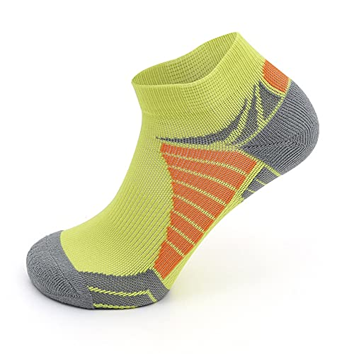 SHHMA Calcetines para Hombre, 3 Pares de Calcetines Deportivos, Calcetines de Barco Transpirables absorbentes del Sudor, Calcetines Deportivos para Correr al Aire Libre,Amarillo