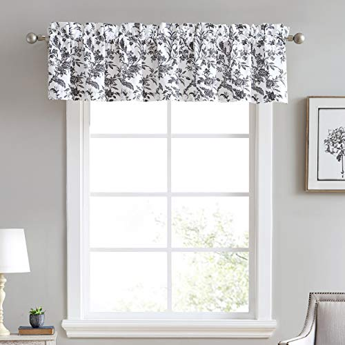 """Laura Ashley Home   Amberley Bedding Collection   Stylish Premium Hotel Quality Valance Curtain, Chic Decorative Window Treatment for Home Décor, 86"""" X 15"""", Black & White"""