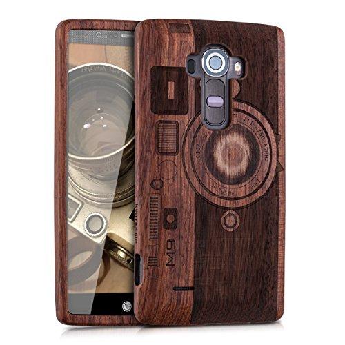 kwmobile LG G4 Hülle - Handy Schutzhülle aus Holz - Cover Case Handyhülle für LG G4 - Kamera Design Dunkelbraun