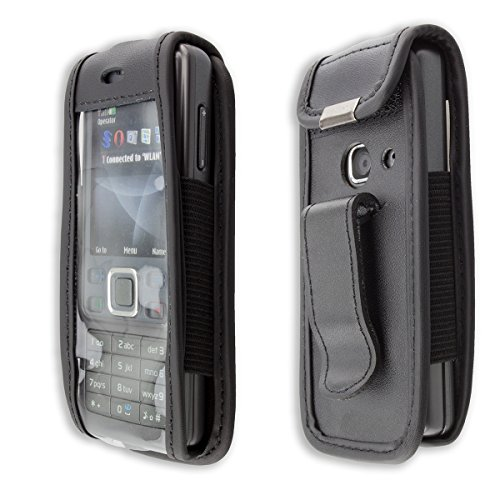 caseroxx Ledertasche mit Gürtelclip für Nokia 6300 aus Echtleder, Handyhülle für Gürtel (mit Sichtfenster aus schmutzabweisender Klarsichtfolie in schwarz)