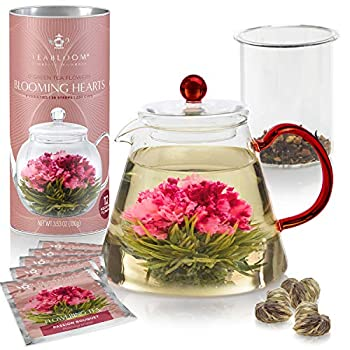 Teabloom AMORE Flowering Tea Gift Set - Stovetop Safe Glass Teapot with Removable Loose Leaf Tea Glass Infuser  34 oz  - 12 Heart-Shaped Blooming Tea Flowers Included