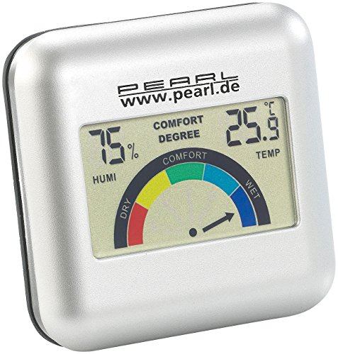 PEARL Luftfeuchtigkeitsmesser: Digitales Hygrometer mit Thermometer und grafischer Anzeige (Hygro Thermometer)