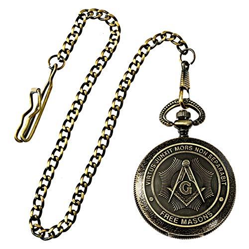 Shining Square & Compass Masonic Pocket Watch - [Antique Brass][2'' Diameter]