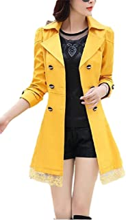 Womens Long-Sleeve Lapel Double-Breasted Classic Trench Coat Overcoat