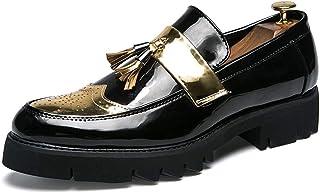 CAIFENG Brogue Oxfords for Hombres de Punta Redonda Dos Tonos Acento Taller Loafer Wingtip Zapatos Espesar Suela de Suela ...