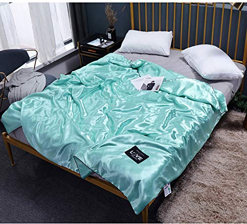 Edredones-El algodón Lavado de Verano es de Color sólido acondicionador de Aire-Encaje de Regalo de la Colcha Delgada de Verano lavable-verde-200 * 230,Funda para nordico,Fundas nordicas Cama