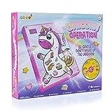 abeec Operación Unicornio - Juego de Operación Unicornio para Niñas - Juego de mesa para niños 6+ - Juguete de unicornio para niñas - Retire las partes del cuerpo o enfréntate al zumbador