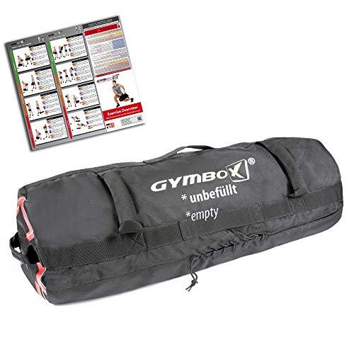 GYMBOX Bolsa de Arena/Saco Búlgaro/Sandbag/Bolso de Peso/Fitness Bag/Power Bag | Entrenamiento Muscular/Funcional/de Pesas | Puede Estar llenado con Arena | Negro, 50 kg | vacío