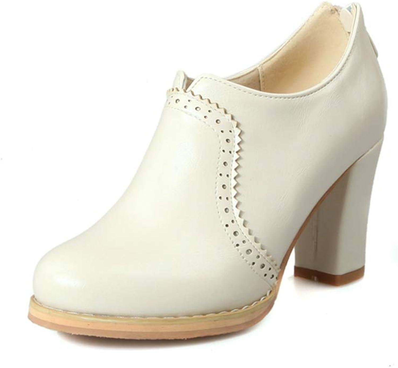 Bonrise Women's Chunky Platform Oxford Pumps High Heel Round Toe Leather Slip On Zipper Vintage Dress shoes