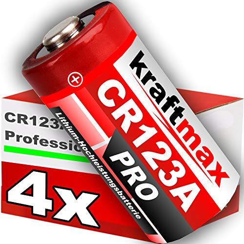 kraftmax 4er Pack CR123 / CR123A Lithium Hochleistungs- Batterie für professionelle Anwendungen - Neueste Generation