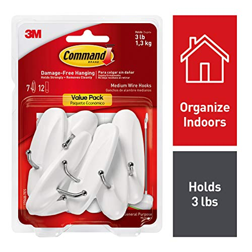 Command Wire Hooks Value Pack, Medium, White, 7-Hooks (17068-7ES), Organize and decorate your dorm