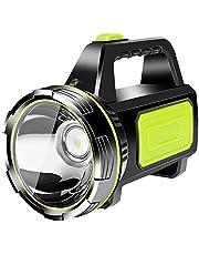 YUNYODA Super heldere LED oplaadbare zaklamp, led handheld zaklamp USB oplaadbare draagbare schijnwerper Grote batterijen Krachtige zoeklicht waterdichte campinglantaarn met zijlicht