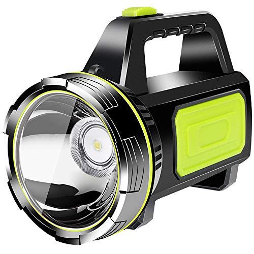 YUNYODA Linterna LED recargable súper brillante, linterna de mano LED Proyector portátil recargable por USB Baterías grandes Reflector de alta potencia Linterna de camping impermeable con luz lateral