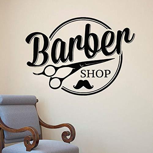 Tianpengyuanshuai Mobiler Friseur Schaufensteraufkleber Friseur Schnurrbart Design 50X38cm