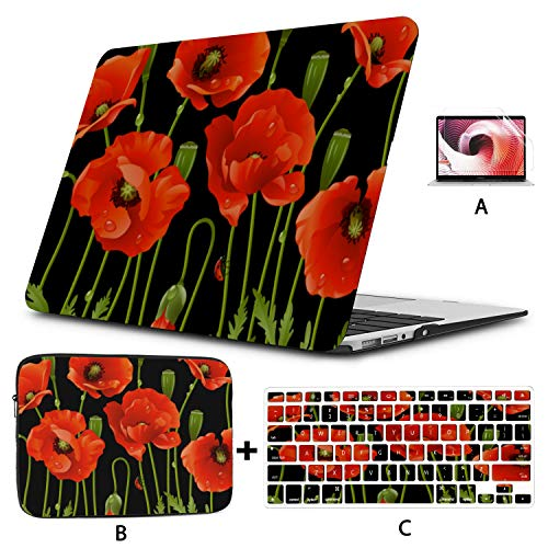 13 Inch Macbook Case Blood Red Color Flower Poppy Macbook Pro 15 Cover Hard Shell Mac Air 11'/13' Pro 13'/15'/16' With Notebook Sleeve Bag For Macbook 2008-2020 Version