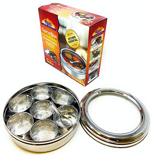 Rani Spice Box Stainless Steel Transparent Round Storage For Spices Masala Dabba 7 Compartments with spoon 75in x 28in ~ Packed in an attractive box perfect for gifts