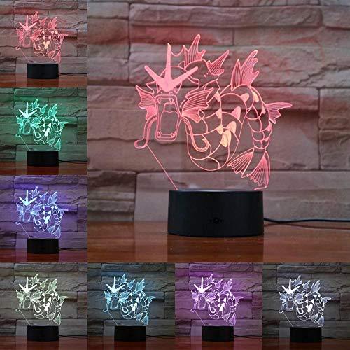 OMCR Illusion 16 Farbe Nachtlicht, LED-Wecker Basis, Tier Drachenpferd, Lampe 16 Farben 3D gedruckt USB Wiederaufladbare LED Nachtlicht Moderne Stehleuchte Dimmbare Touch Control Tischlampe Helligkeit