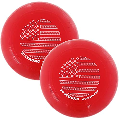 50 Strong Super Fun 145 Gram Flying Sporting Disc - Best Beach Toy & Gift for Kids and Adults - Great Outdoor Frisbee-Style Game - Made in USA (2 Pack - Red/Red)