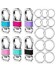 مجموعة مشابك مفاتيح معدنية بمشبك مفاتيح، تتضمن 6 قطع خطافات مشبك مفاتيح معدنية، 12 حلقة مفاتيح في مقاسين لللوازم الحرفية الخاصة بسيارات الصنع