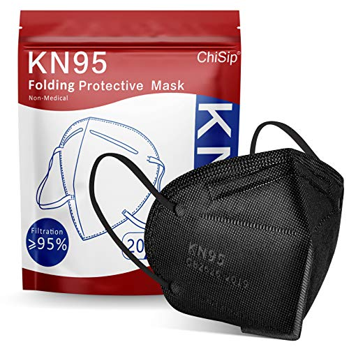 KN95 Face Mask 20Pcs, 5 Layer Design Cup Dust Safety Masks, Breathable Protection Masks Against PM2.5 Dust Bulk for Adult, Men, Women, Indoor, Outdoor Use, Black
