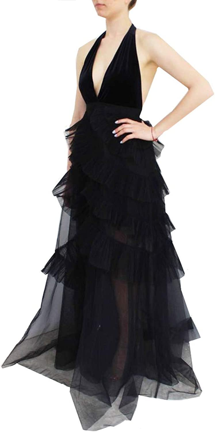 Kailiya Black Revolving Tulle Halter VNeck Backless Dress for Party