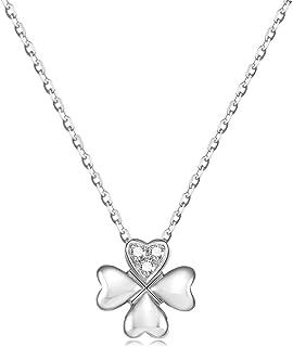 FANCIME K18ホワイトゴールド ダイヤモンド 四つ葉のクローバー ネックレス レディース 18金 ギフトラッピング済 母の日 誕生日 プレゼント...
