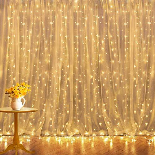 Led Lichtervorhang 6mx3m 600 Led Lichterkettenvorhang 8 Modi, Weihnachtsbeleuchtung Wasserfall Anschließbar für Weihnachten, Schlafzimmer,Partys Innen und außen Deko.