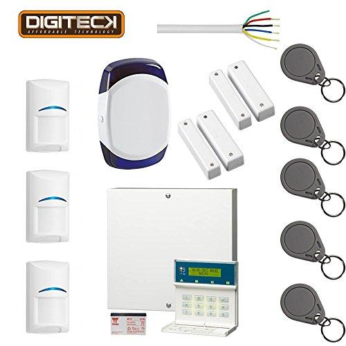 Scantronic 9651EN43 Sistema de alarma Teclado LCD, 4 Bosch Pet-Friendly PIR, 5 Fobs, Honeywell Sounder, 2 contactos de la puerta