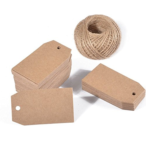 G2PLUS Kraft Gift Tags,100 PCS Paper Labels,Blank Wedding Label Tags with 30 Meters Jute Twine