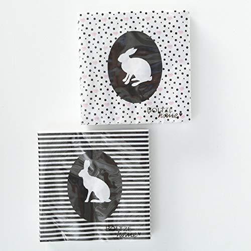 Home Collection Servietten (2er Set / 40Stück) 3-lagig 33x33cm Fröhliche Ostern Hasen schwarz weiß und rosa Herzchen