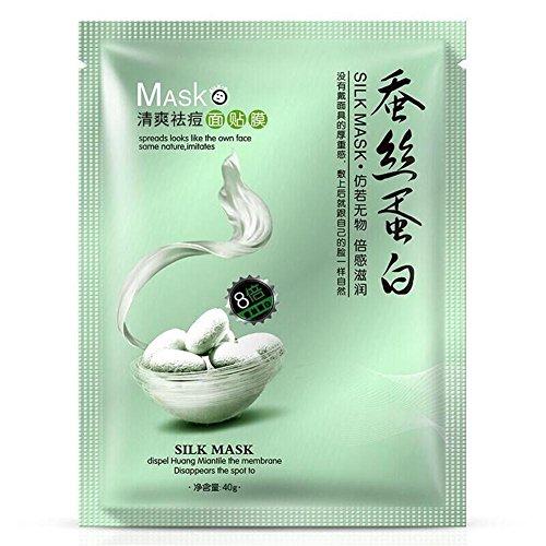 Proteína de seda de primavera Mascarilla facial hidratante Control del aceite Acné Eliminación Cosméticos blanqueadores Mascarilla facial hidratante (1PC)