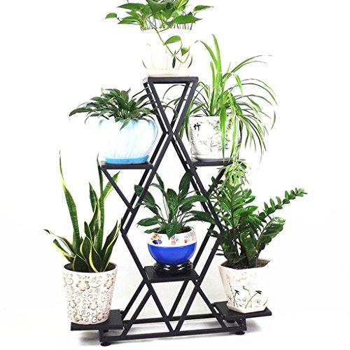 & Pot rack Porte-fleurs en fer, salon Pot de pot de fleurs Balcon Bonsai Frame Plant Display Stand Pots à fleurs décoratifs (Couleur : Noir, taille : 80 * 20 * 105CM)