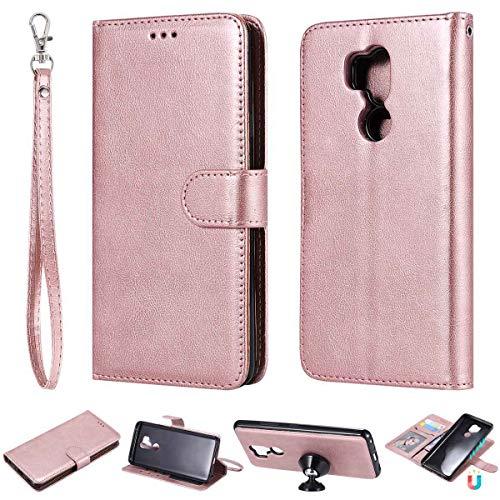 JEEXIA® Schutzhülle Für LG G7 ThinQ / G7 Fit / G7 One, Magnetisch Abnehmbar PU Lederhülle Flip Cover Brieftasche Innenschlitzen 2 in 1 Handy-Hülle (ohne Saugnapf) - Roségold