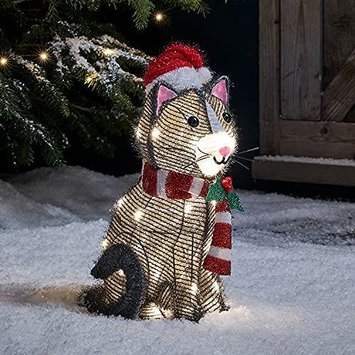Lights4fun 30er LED Katze Weihnachtsbeleuchtung Außen Weihnachtsfigur mit Timer