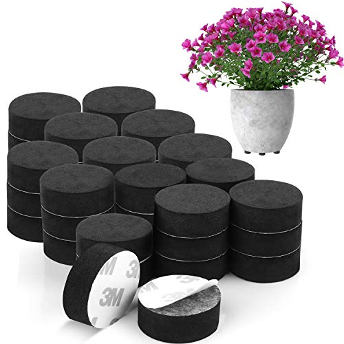 BELLE VOUS Invisible Plant Pot Feet (40 Pack) - Invisible Black Flower Pot Risers - Non-Slip with Strong Self Adhesive Pads for Medium and Large Sized Pots - Lifter Pads for Indoor and Outdoor Plants
