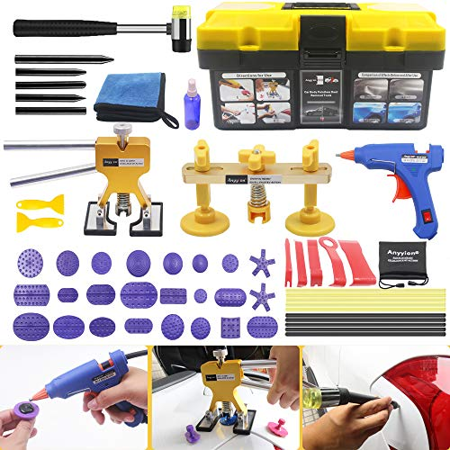 Anyyion Paintless Dent Repair Kits - 54pcs Car Body Paintless Dent Repair Tools - Car Clip Removal Tool