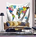 Mapa de la decoración del dormitorio de la decoración colcha colgando la decoración de la cama sala de tapices mundo moldeado pintado,Una,150x130cm