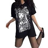 Damen Gothic T-Shirt Kleid Punk Kostüm Schwarz Vintage Sommerkleider Röcke Freizeit Tops O-Ausschnitt Kurzarm Shirt-Kleid Steampunk Mini Kleider Mode Freizeit Oberteil Streetwear