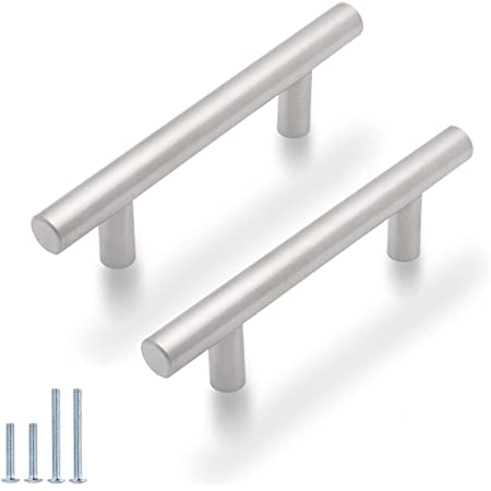 Amazon Com 30 Pack Probrico 3 Inch Hole Centers Euro T Bar Cabinet Pulls Stainless Steel Kitchen Drawer Handles Satin Nickel Furniture Dresser Cabinet Hardware 5 Inch Total Length Home Kitchen