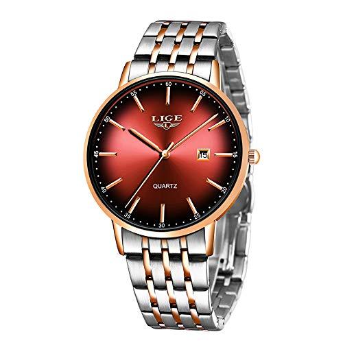 LIGE Herren Armbanduhren Wasserdicht Edelstahluhr mit Date Analoge Quarzuhr Businessuhr für Herren Mode Einfache Uhren Rot