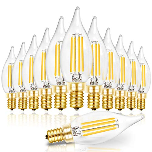 Hizashi LED Candelabra Bulb Flame Tip 40W Equivalent Dimmable E12 Filament Candle Bulbs 4W, 450 Lumens, 5000K Daylight White CA10 LED Chandelier Light Bulbs, 90+ CRI, UL Listed - 12 Pack